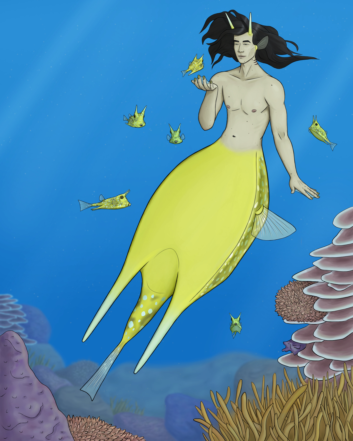 Digital painting of a longhorn cowfish merman at a coral reef, surrounded by a bunch of small cowfish swimming toward him. He's smiling and looking fondly at the one swimming toward his face, his hand coming up to touch it. He has a thin body and a bright yellow tail with a flat expanse that tapers to two horn-like protrusions at the bottom, with a tail fin in between them (like a cowfish). The side and fin of his tail have white spots. His head has two small, straight, yellow horns near his temples. He has fair skin, long black hair flowing around his face, some scattered freckles and moles, and Japanese facial features.