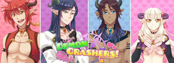 Cute Demon Crashers - promo images showing half-naked sexy incubi, three male and one female, all of whom have horns, some have tribal-esque tattoos
