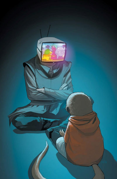 IV playing cartoons on his TV head for a kid to watch