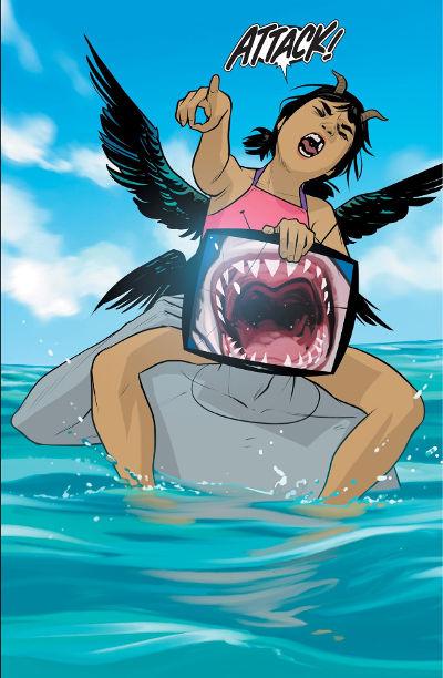 IV pretending to be a shark for Hazel
