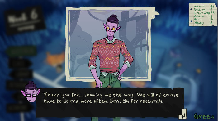 Monster Prom - Screenshot of Liam blushing and saying: 'Thank you for... showing me the way. We will of course have to do this more often. Strictly for research.'