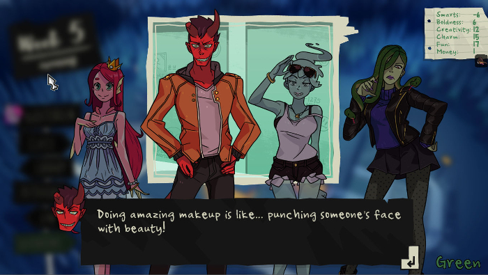 Monster Prom - Screenshot of Damien saying: 'Doing amazing make-up is like... punching someone's face with beauty!'