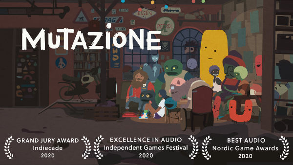 Mutazione by Die Gute Fabrik - promo image showing a human and a bunch of humanoid mutants sitting around a TV hanging out together