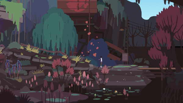 Mutazione screenshot of a landscape full of colorful plants and flowers and some lily pads on dark water in the foreground