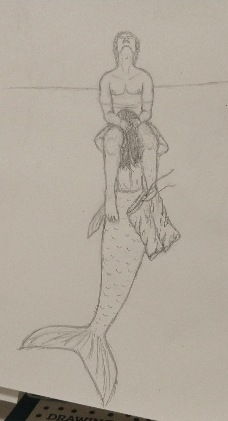 Merperson underwater with human sitting on their shoulders, swim suit dangling from human's foot