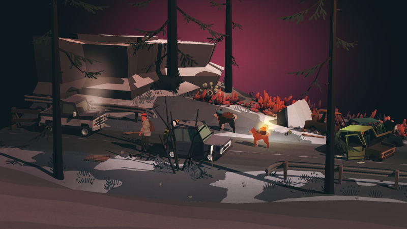 Overland screenshot showing a human and two dogs at twilight in a snowy environment