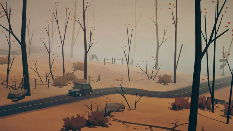 Overland screenshot showing cut scene image of an SUV driving through an autumnal forest with a creature in the background