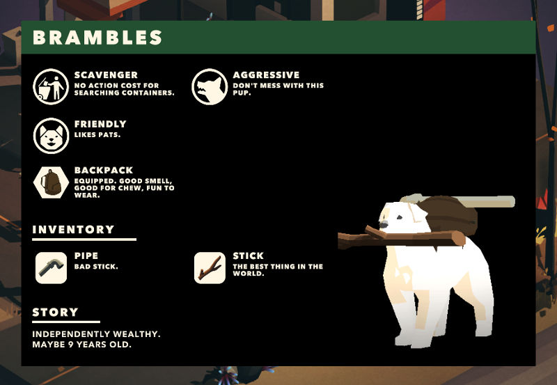Overland screenshot showing a dog with descriptions of items such as 'pipe: bad stick' and 'stick: best thing in the world'