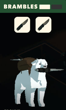 Overland screenshot of a dog carrying a knife in his mouth