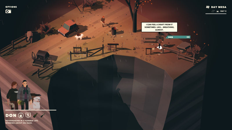 Overland screenshot showing two humans and a dog looking at a crater