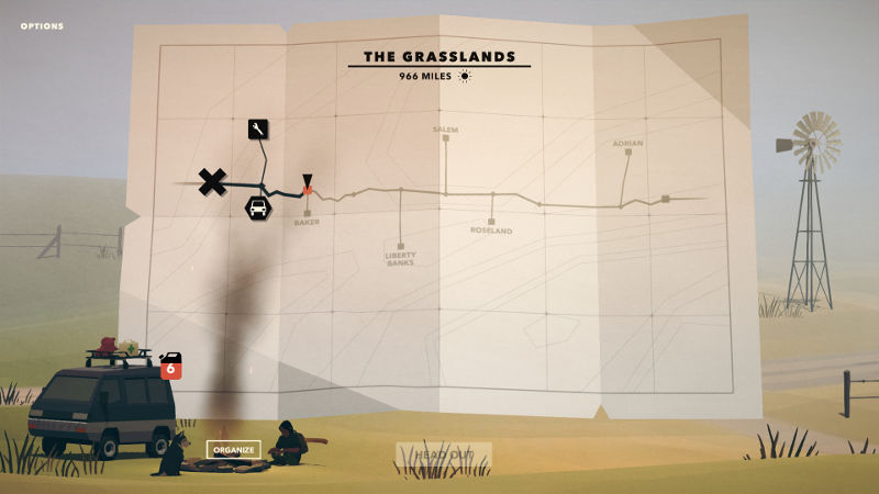 Overland screenshot showing the map