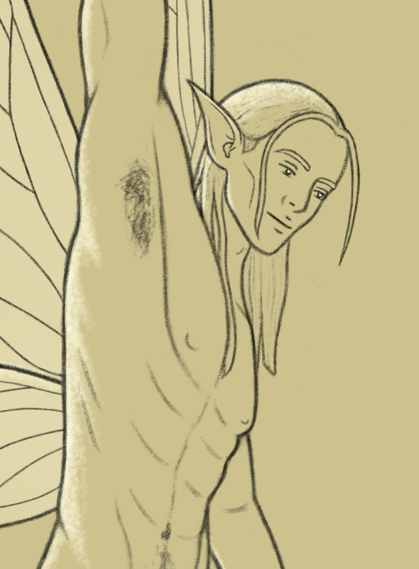 drawing of a small winged pixie man holding a flower