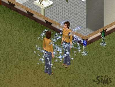 thin woman with medium length brown hair, looking at a clone of herself with magical sparkles all around them