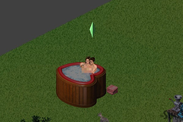 Suzie cuddling naked in a hot tub with a thin but muscular man with short brown hair