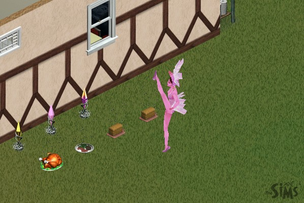 an attractive woman with pink skin wearing a pink showgirl outfit that resembles flamingo feathers, doing a high kick