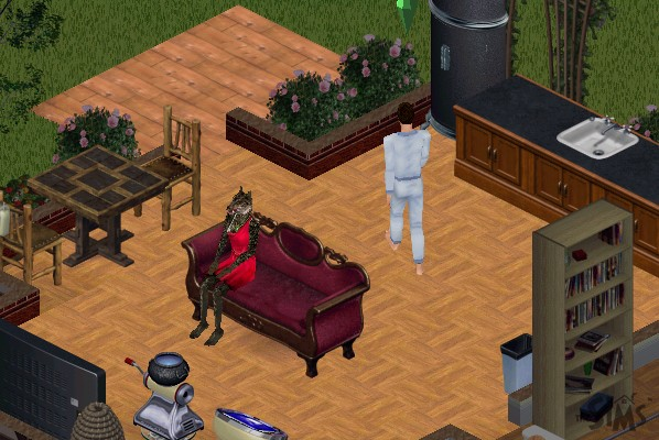 Mark walking past Suzie on the couch while Suzie looks like a humanoid wolf in a dress