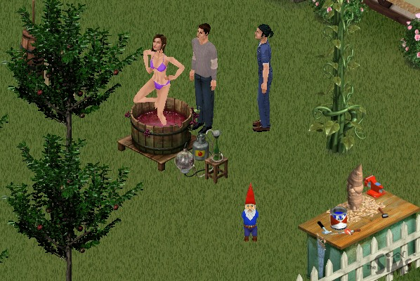 Suzie stomping grapes in a vat in her bikini, Mark standing there watching her, an animal catcher guy also standing there, and a living gnome randomly standing nearby