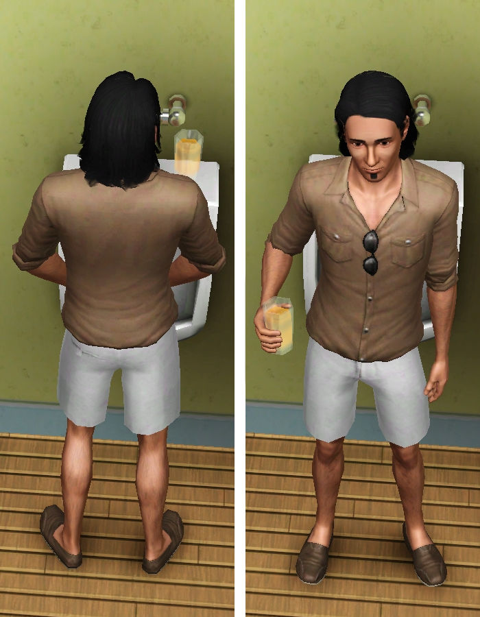 Sim with Drink in Bathroom