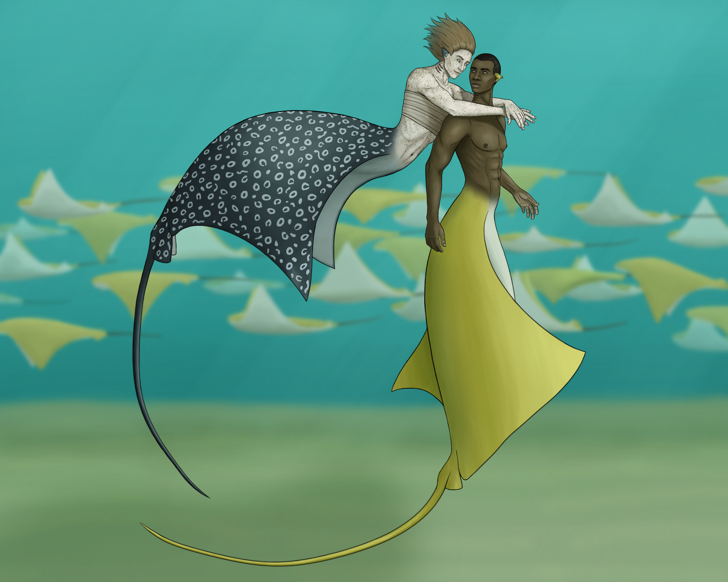 Digital painting of two mermen underwater with stingray tails. One is swimming up behind the other to hug him from behind. The other is fully vertical and turning to see behind him. Their faces are inches apart. Both are smiling. The swimming one is light skinned with lots of freckles, chin-length reddish brown hair flowing behind him, and a tan fabric wrapped tightly around his chest as a binder. His tail is dark grey with white spots, like a spotted eagle ray. The turning merman is dark-skinned with a shaved head, a muscular body, curved white piercings in his ear lobe and nipples, and a golden tail like a cownose stingray. They're in teal water with cownose stingrays swimming by in the background.