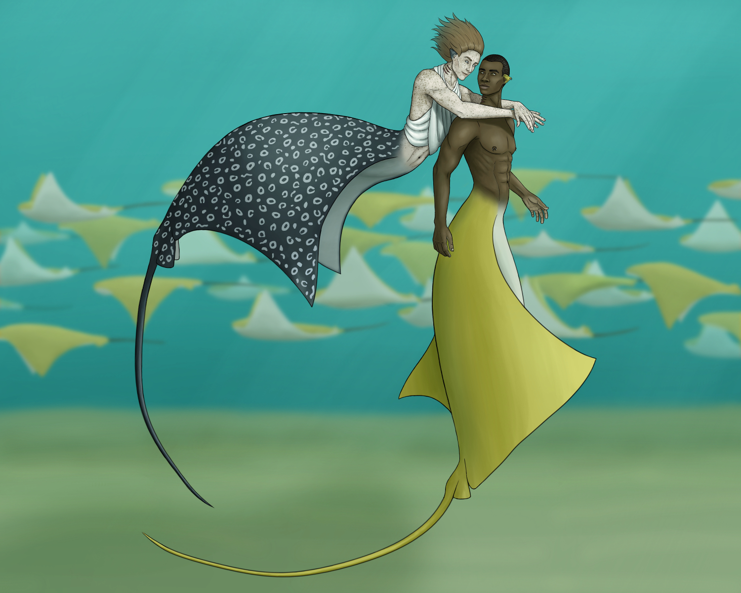 Digital painting of two mermen underwater with stingray tails. One is swimming up behind the other to hug him from behind. The other is fully vertical and turning to see behind him. Their faces are inches apart. Both are smiling. The swimming one is light skinned with lots of freckles, chin-length reddish brown hair flowing behind him, and a white piece of fabric loosely draped around the back of his neck, covering his chest, wrapping around to his back. His tail is dark grey with white spots, like a spotted eagle ray. The turning merman is dark-skinned with a shaved head, a muscular body, curved white piercings in his ear lobe and nipples, and a golden tail like a cownose stingray. They're in teal water with cownose stingrays swimming by in the background.