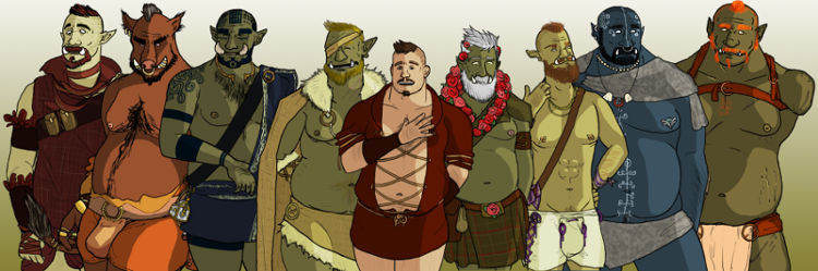 Tusks: The Orc Dating Sim by Mitch Alexander (image of all the orc characters together)