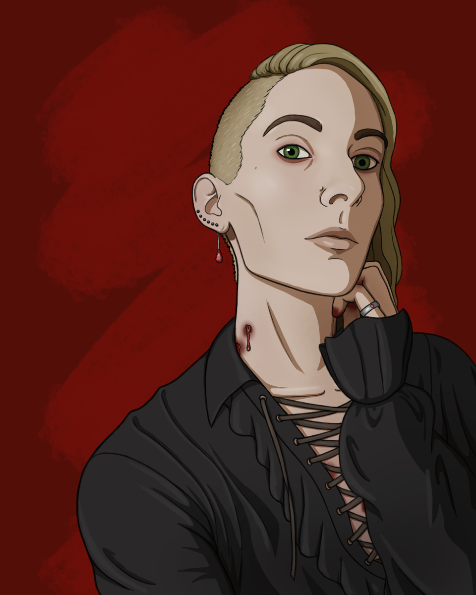 Digital painting of myself as an androgynous vampire with an intimidating facial expression, looking somewhat down and to the side at the viewer. I have dark blonde hair shaved on the side and long on top, flipped to one side. I'm wearing a black pirate shirt with frilly sleeves and lace-up front. There are bite marks on my neck and blood smeared on my fingers and chest. There are a six black studs along my ear lobe, the bottom one has a dangly ruby, and a silver ring with a red ruby on my finger. The background is abstract red.